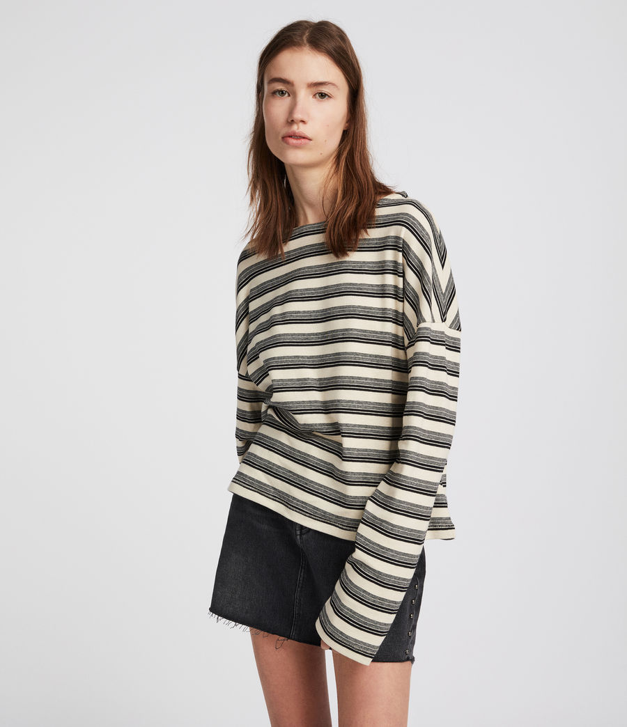 Mujer Top Tilly Stripe (cream_black) - Image 2