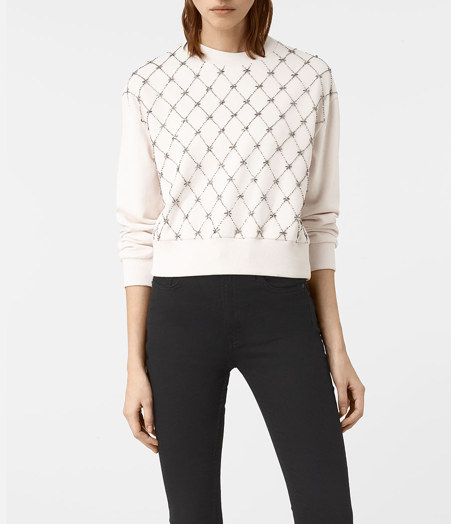 Womens Wire Embellished Sweatshirt (oyster_white) - Image 1
