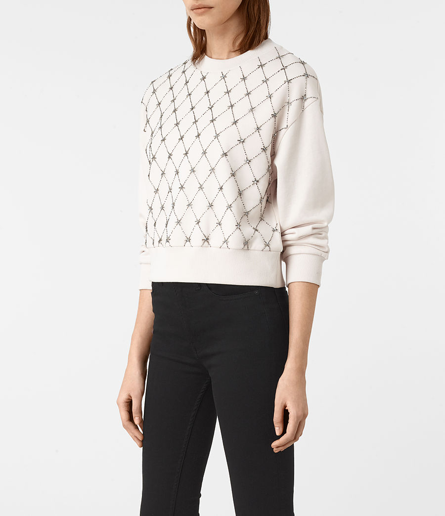 Womens Wire Embellished Sweatshirt (oyster_white) - Image 3