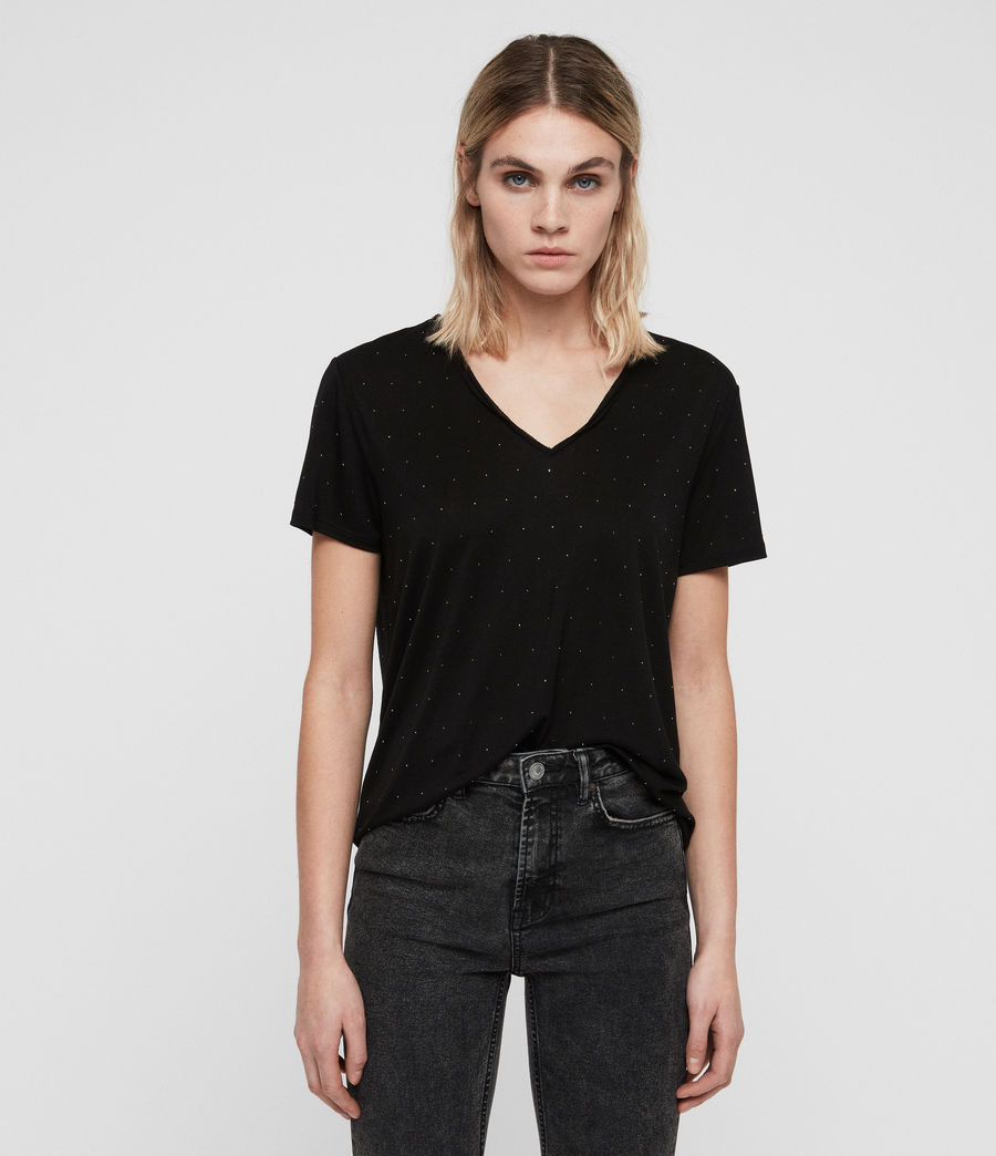Allsaints Us Womens Emelyn Stud T Shirt Black