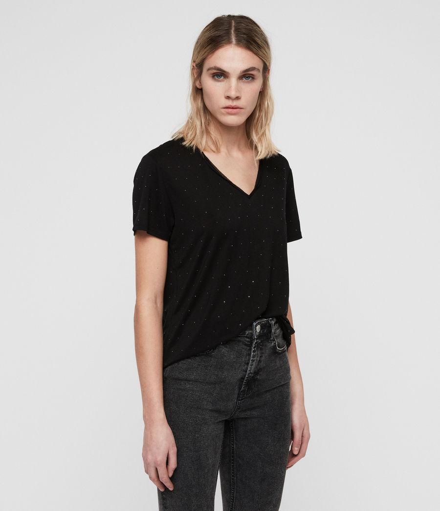 Women's Emelyn Stud T-Shirt (black) - Image 3