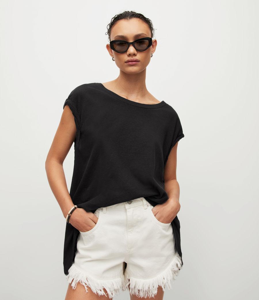 Womens Sanza Linen Blend Tank (black) - Image 1