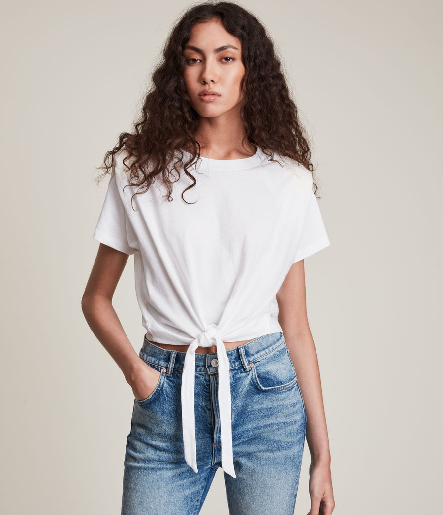 Women's Coni Tie T-Shirt (optic_white) - Image 4