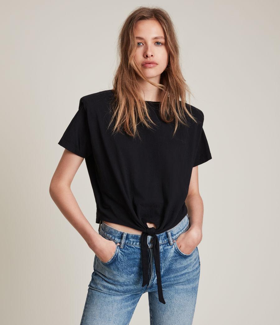 Femmes T-Shirt Noué Coni (black) - Image 1