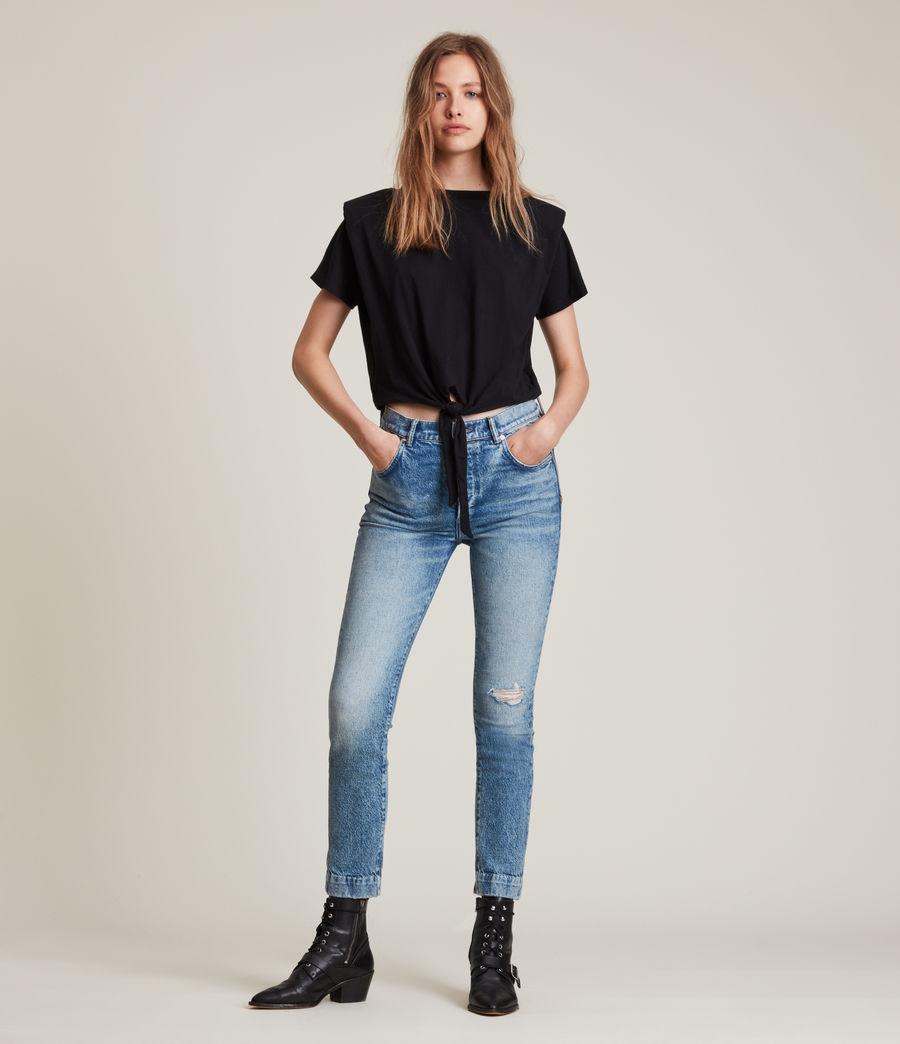 Femmes T-Shirt Noué Coni (black) - Image 3