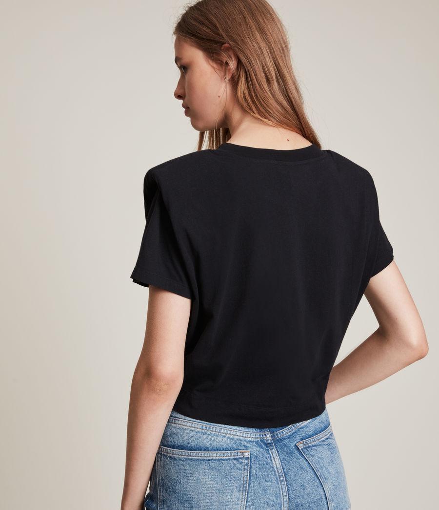 Femmes T-Shirt Noué Coni (black) - Image 5