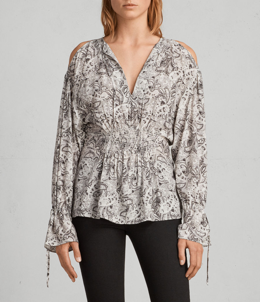 Womens Lavete Paisley Top (white) - Image 1
