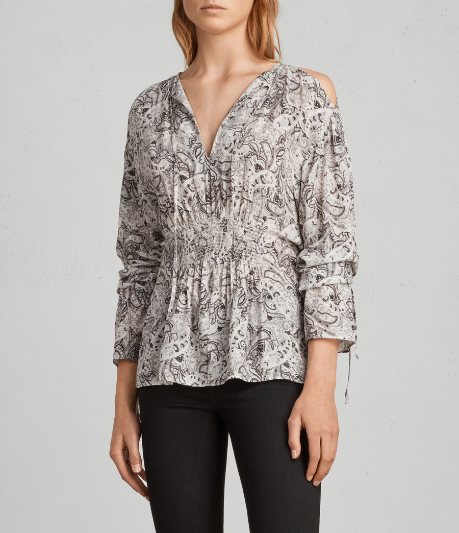 Womens Lavete Paisley Top (white) - Image 3