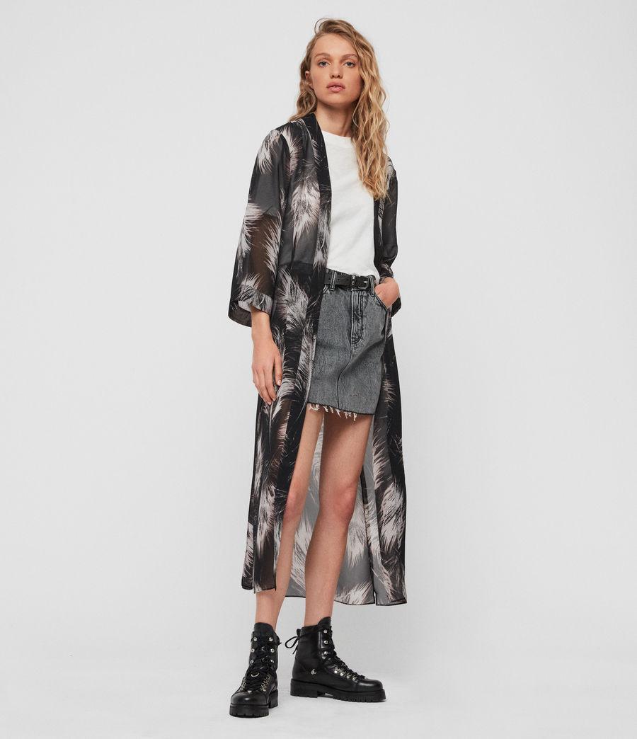 Women's Carine Feathers Kimono (black) - Image 1