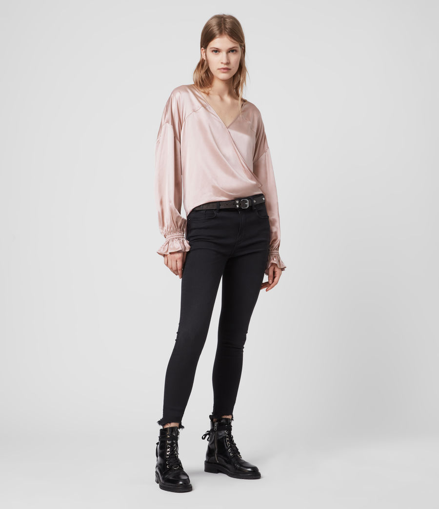 Women's Penny Silk Blend Satin Top (dusty_pink) - Image 1