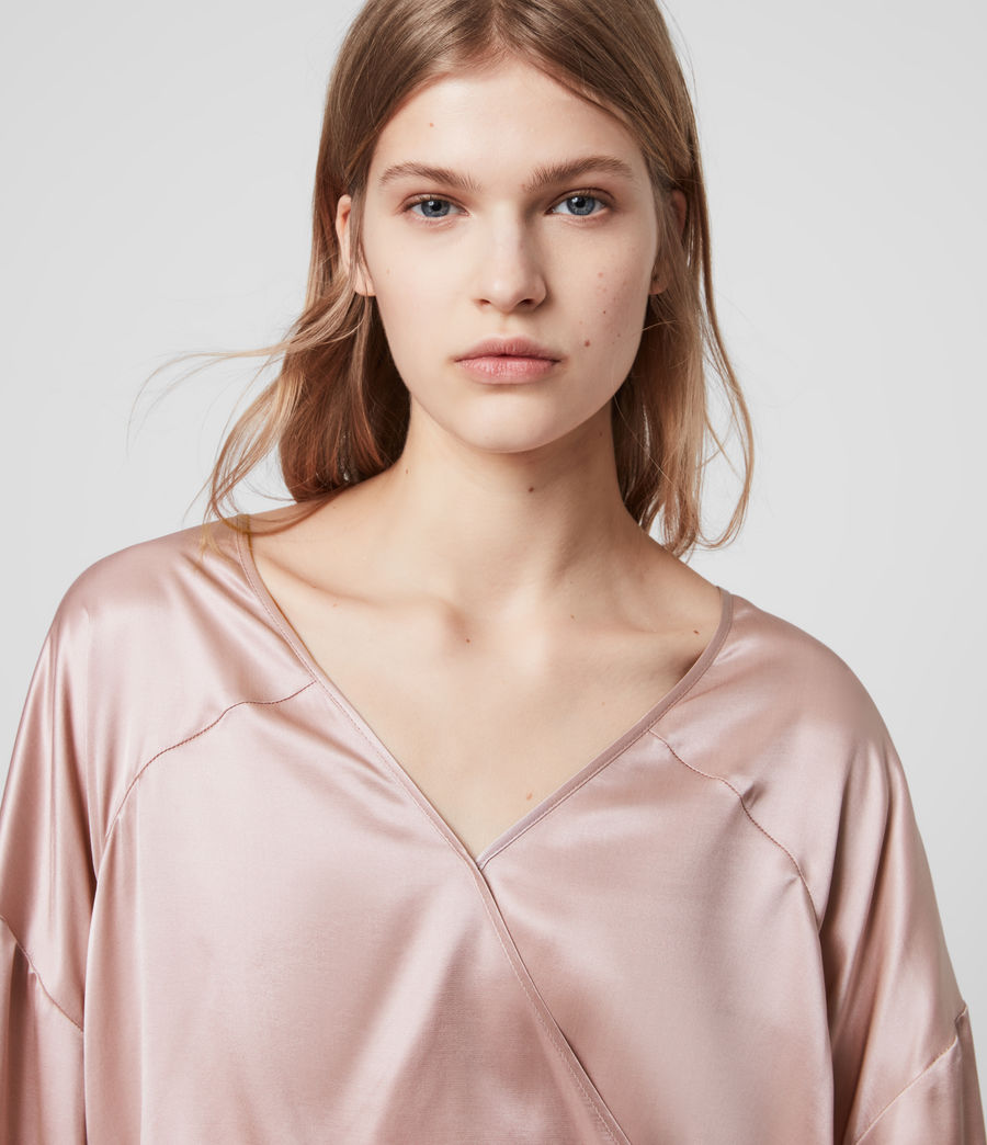 Women's Penny Silk Blend Satin Top (dusty_pink) - Image 3