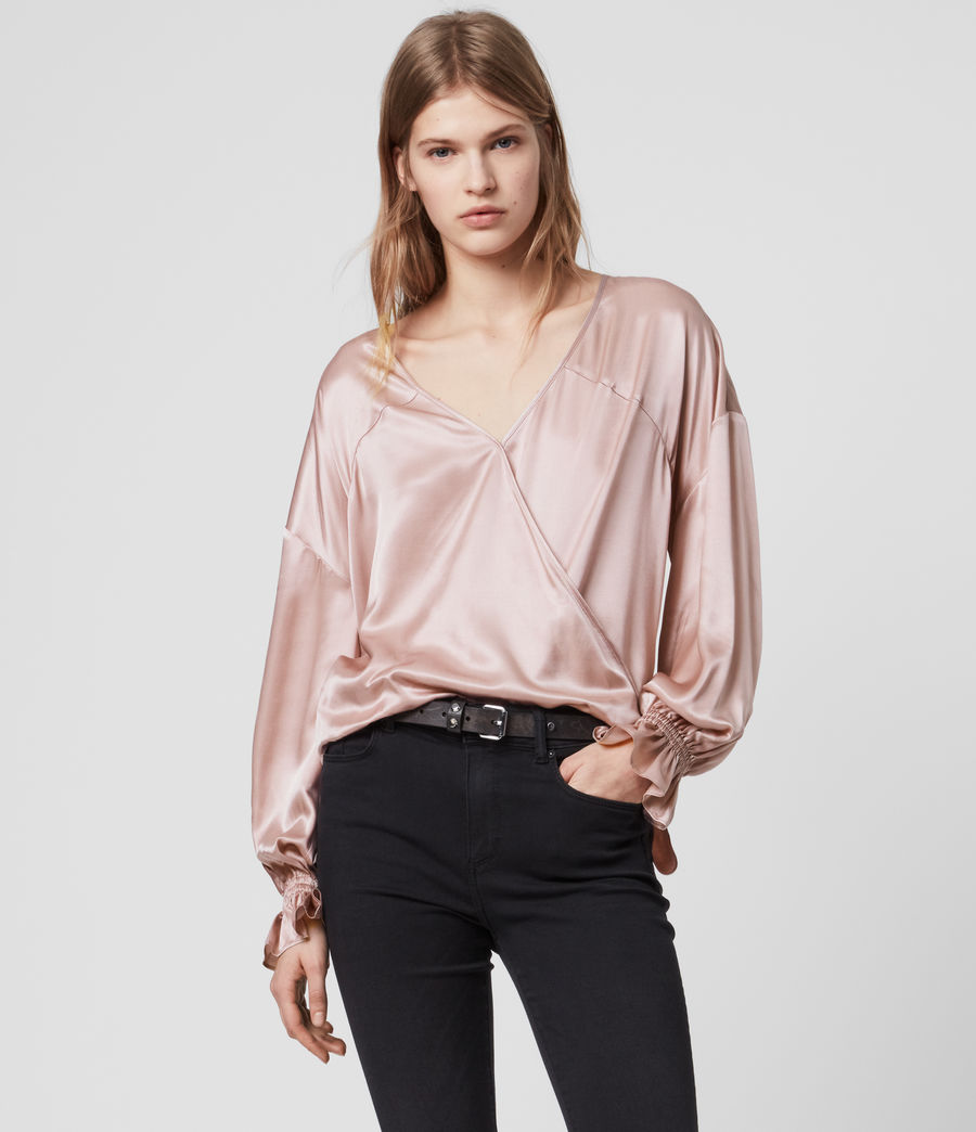 Women's Penny Silk Blend Satin Top (dusty_pink) - Image 4