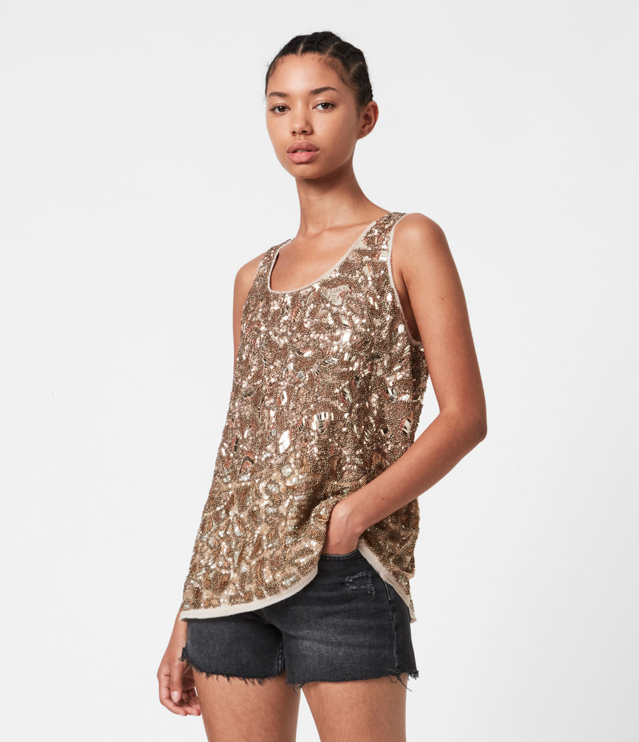 Women's Brellie Embellished Top (gold) - Image 1
