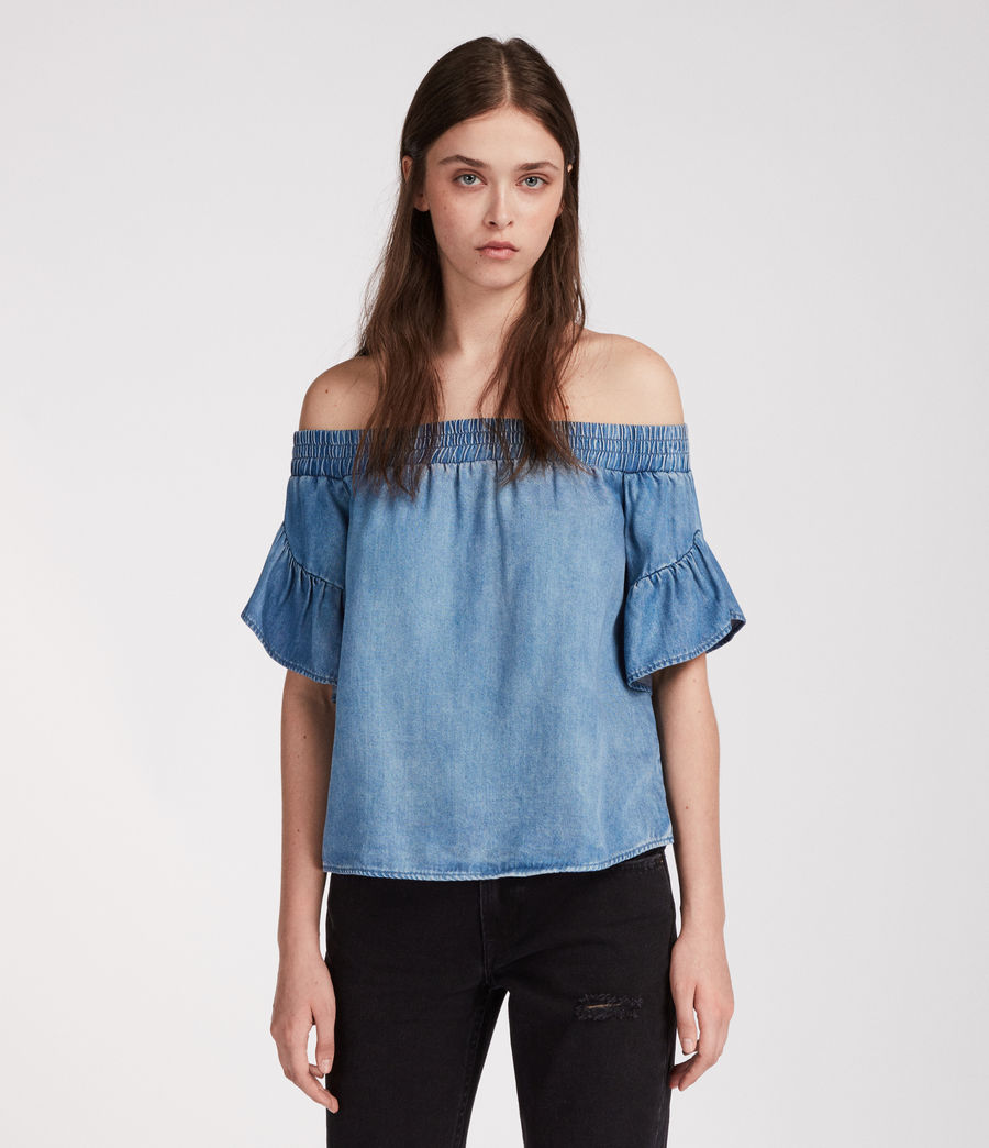 Womens Adela Chambray Top (mid_indigo_blue) - Image 2