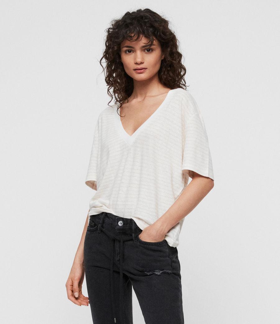Women's Saro Stripe T-Shirt (chalk_bleach_pink) - Image 1