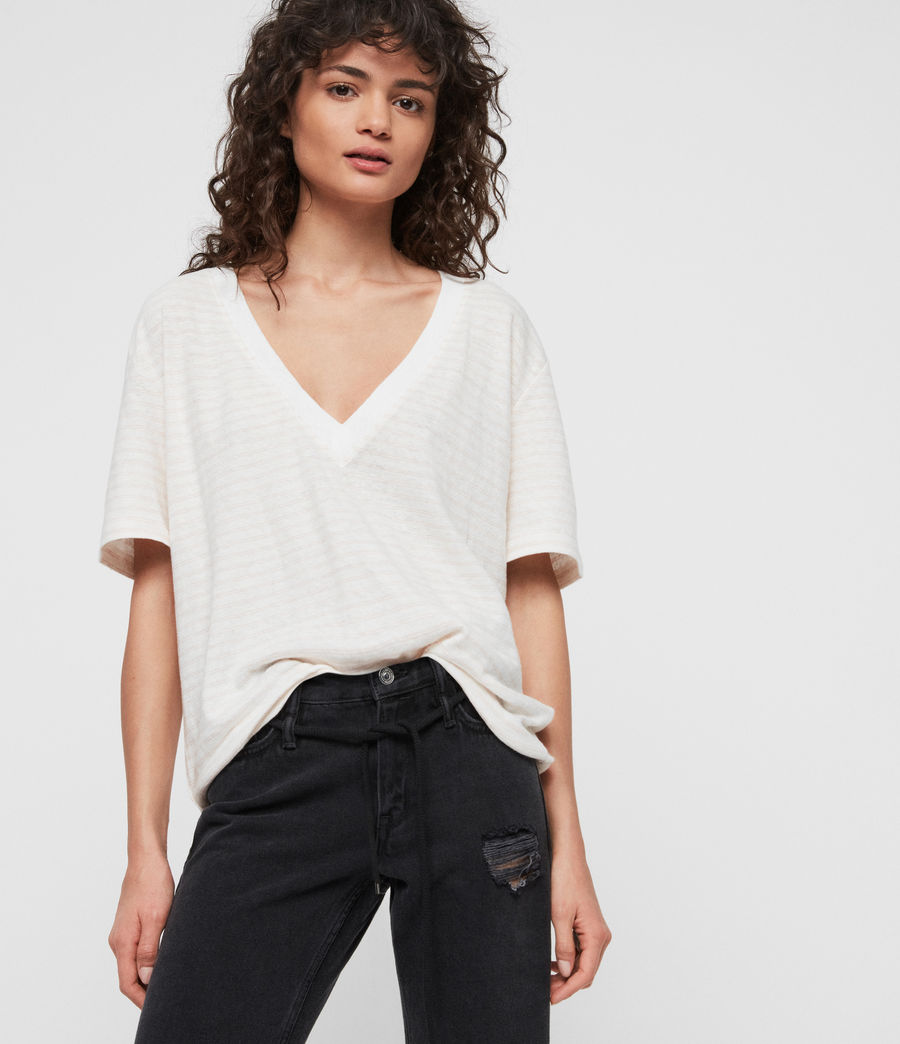 Women's Saro Stripe T-Shirt (chalk_bleach_pink) - Image 2