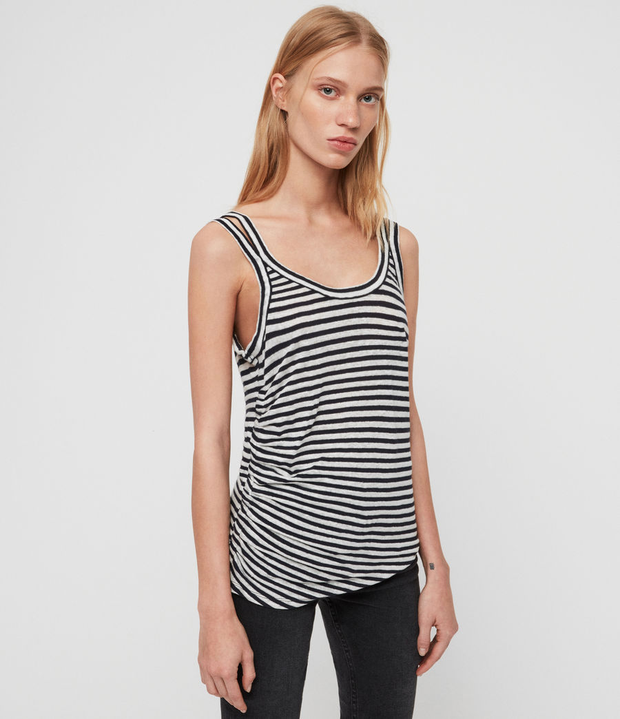 Womens Tina Stripe Tank (chalk_ink_blue) - Image 1