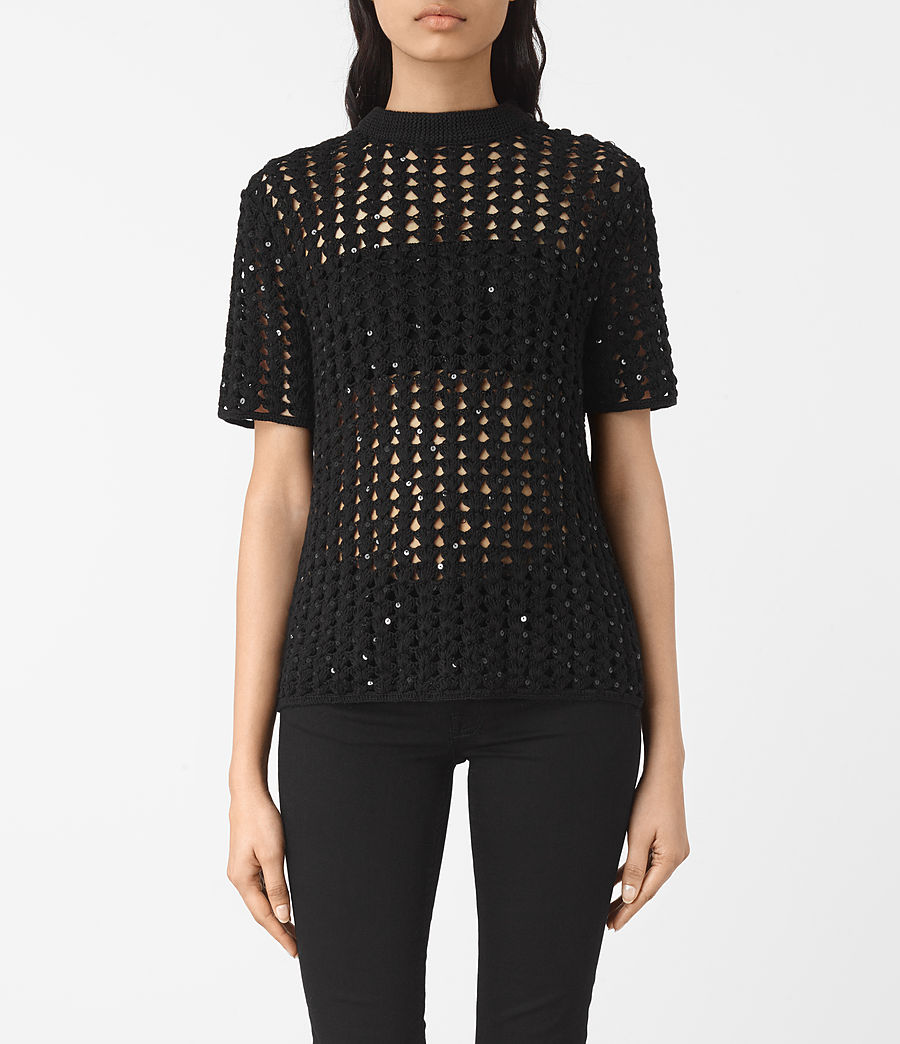 Women's Alyse Embellished Top (black) - Image 1