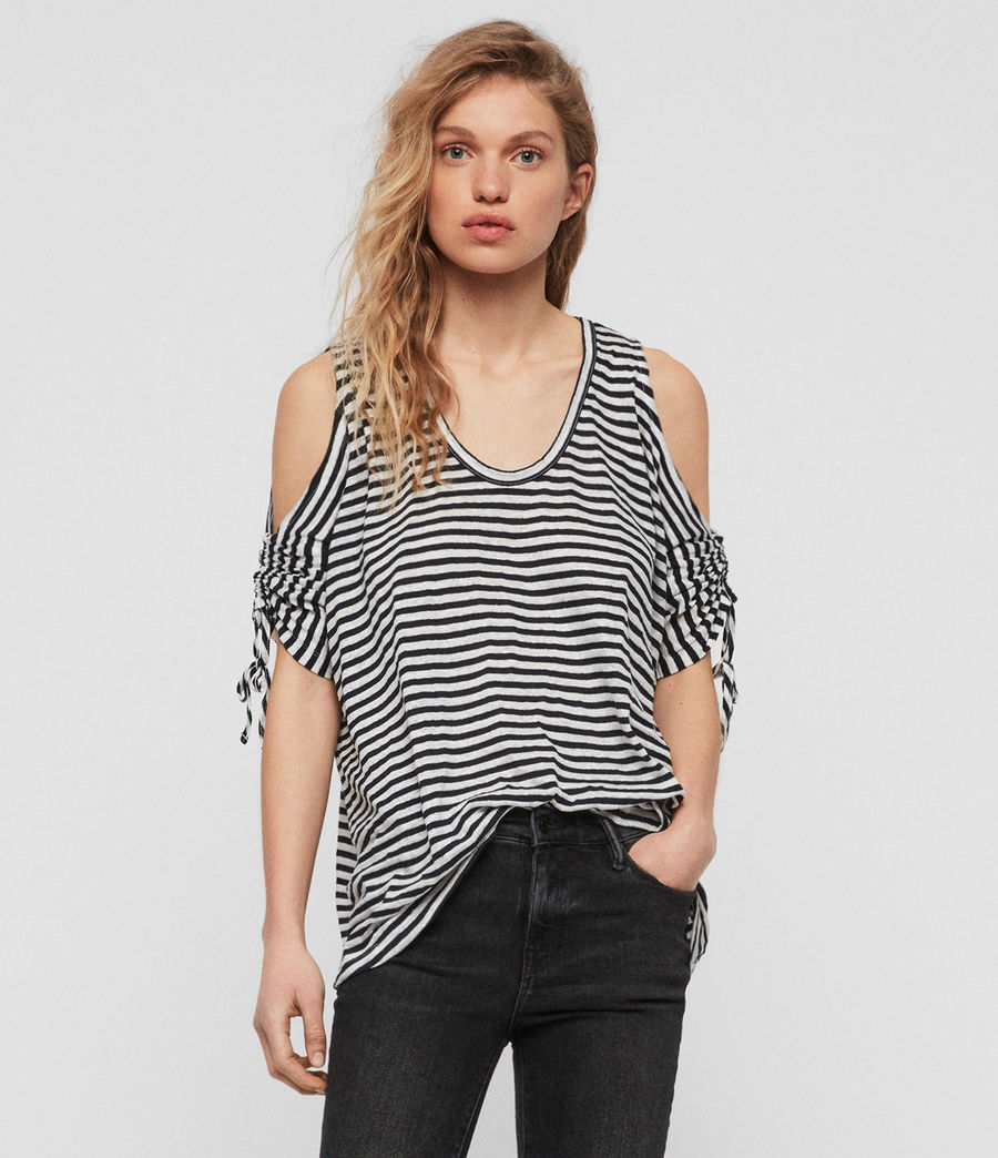 Damen Harper Stripe T-Shirt (chalk_ink_blue) - Image 1