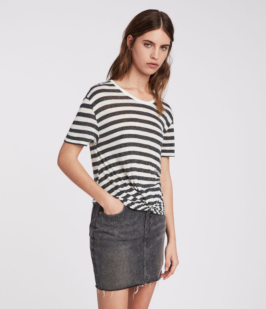 Womens Carme Stripe T-Shirt (chalk_charcoal) - Image 1