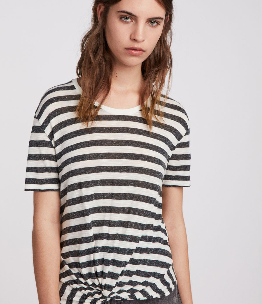 Womens Carme Stripe T-Shirt (chalk_charcoal) - Image 3