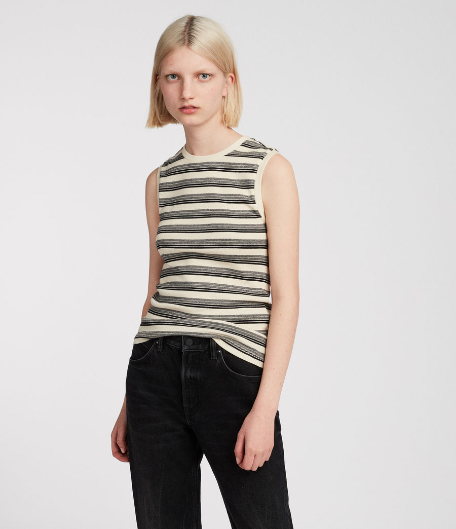 Women's Imogen Stripe Tank (cream_black) - Image 1