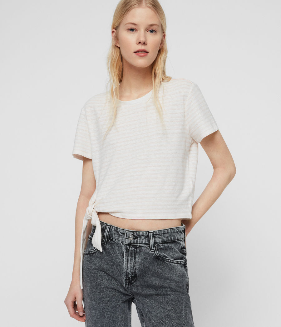 Womens Tujen Stripe T-Shirt (chalk_bleach_pink) - Image 2