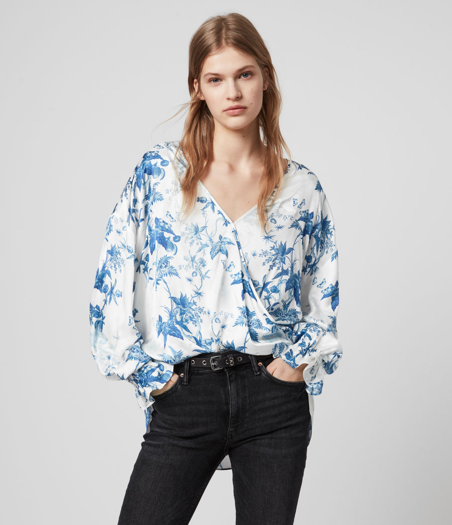 Women's Penny Silk Blend Evolution Top (cornflower_blue) - Image 4