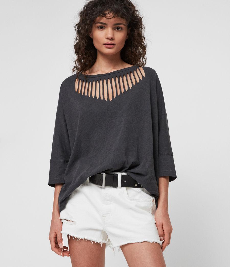 Womens Plira Slash T-Shirt (washed_black) - Image 1