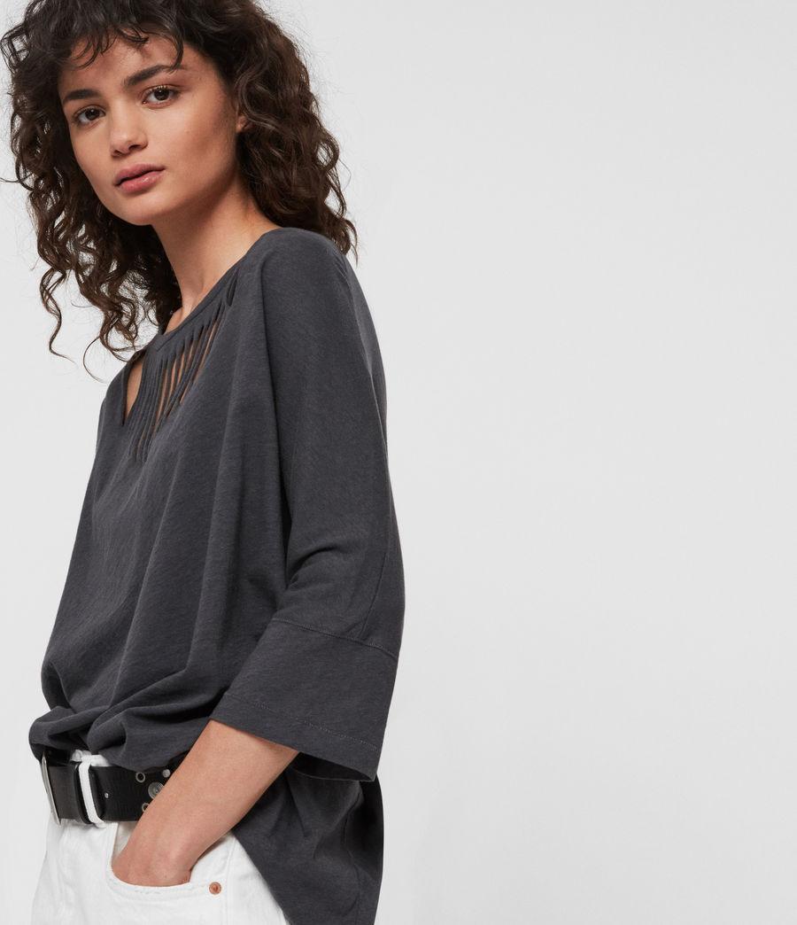 Womens Plira Slash T-Shirt (washed_black) - Image 3