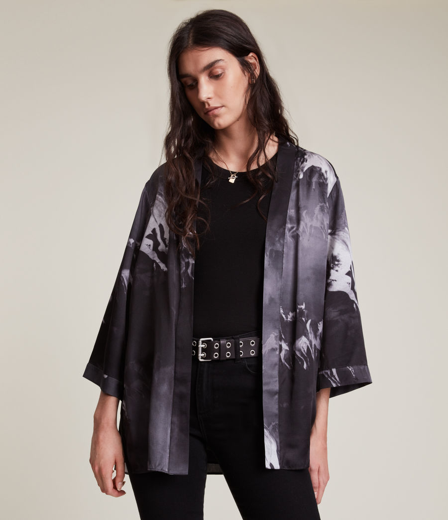 Womens Carina Epoto Silk Blend Kimono (black) - Image 4
