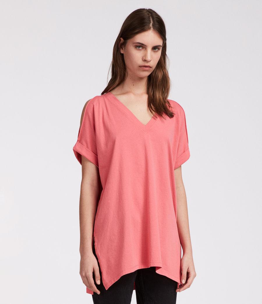 Damen Cora V-Ausschnitt T-Shirt (coral_pink) - Image 1