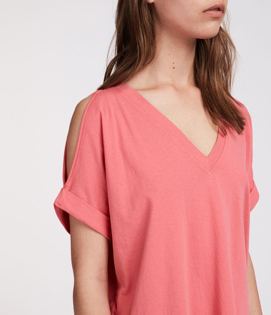 Damen Cora V-Ausschnitt T-Shirt (coral_pink) - Image 2