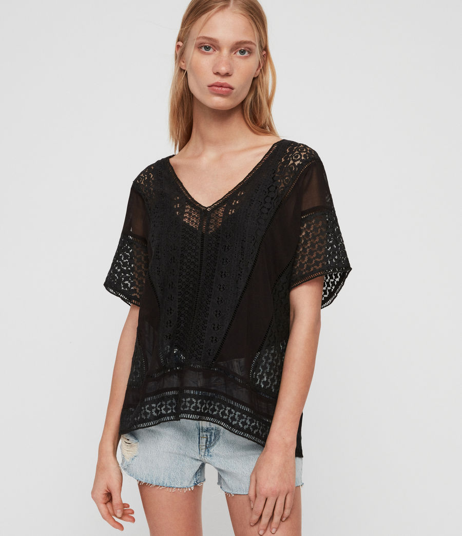 Womens Cindi Lace Top (oyster_white) - Image 1