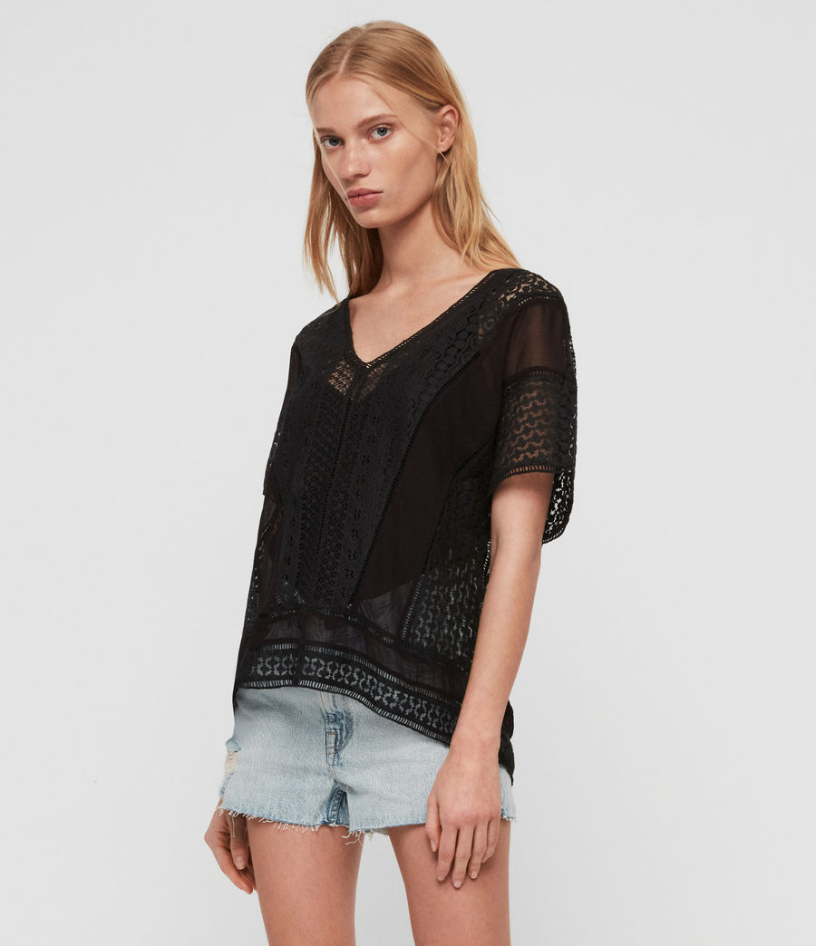 Womens Cindi Lace Top (oyster_white) - Image 4