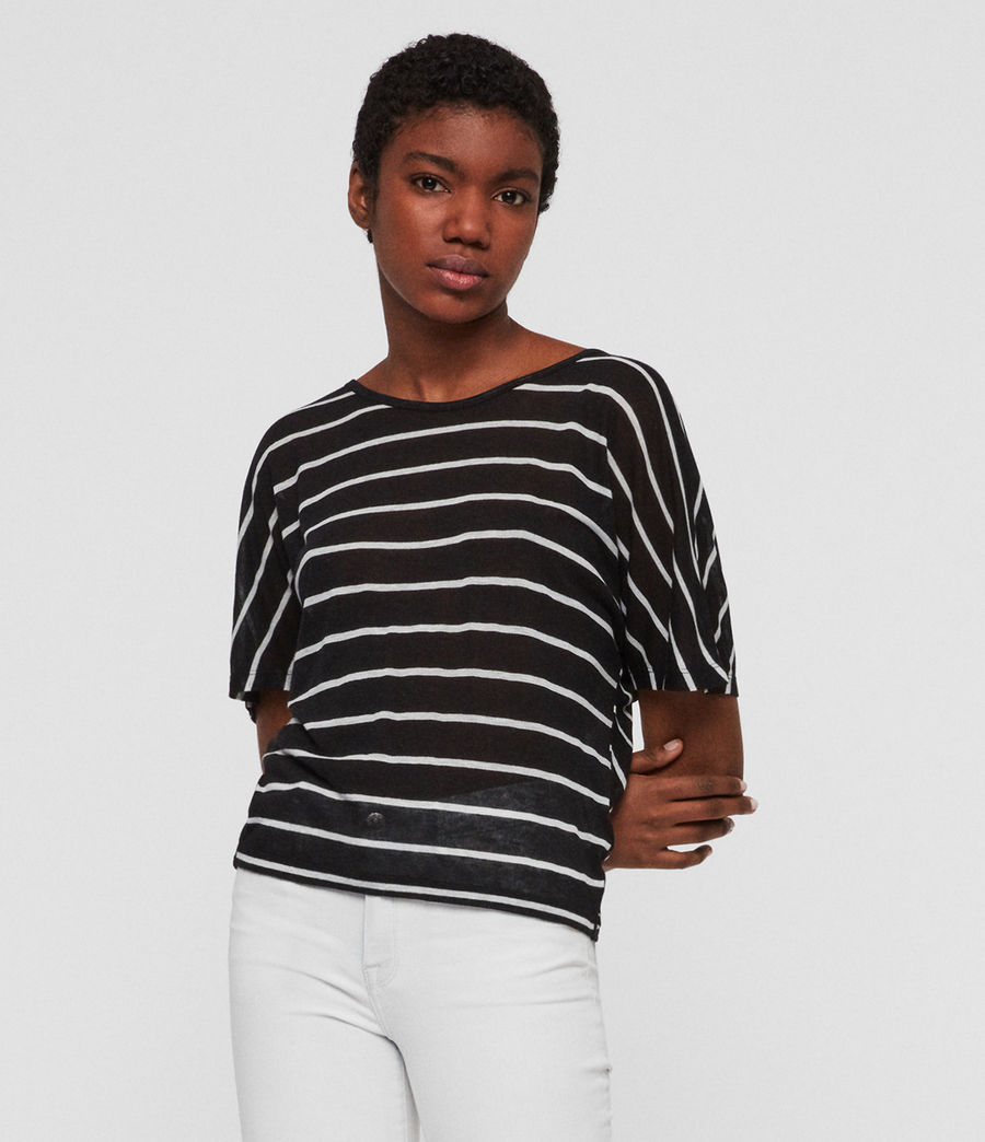 Womens Nimala Stripe Reversible T-Shirt (black_chalk_white) - Image 1