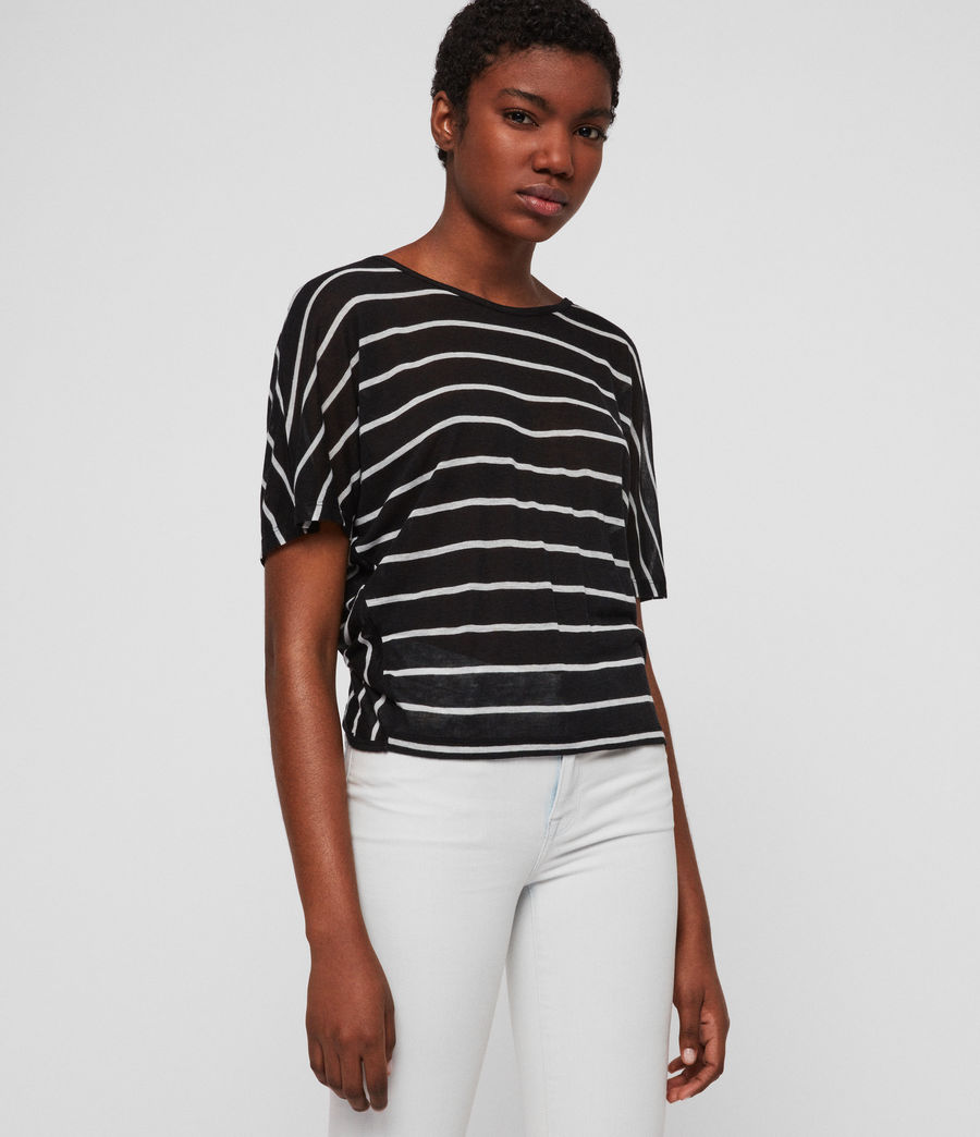 Womens Nimala Stripe Reversible T-Shirt (black_chalk_white) - Image 3
