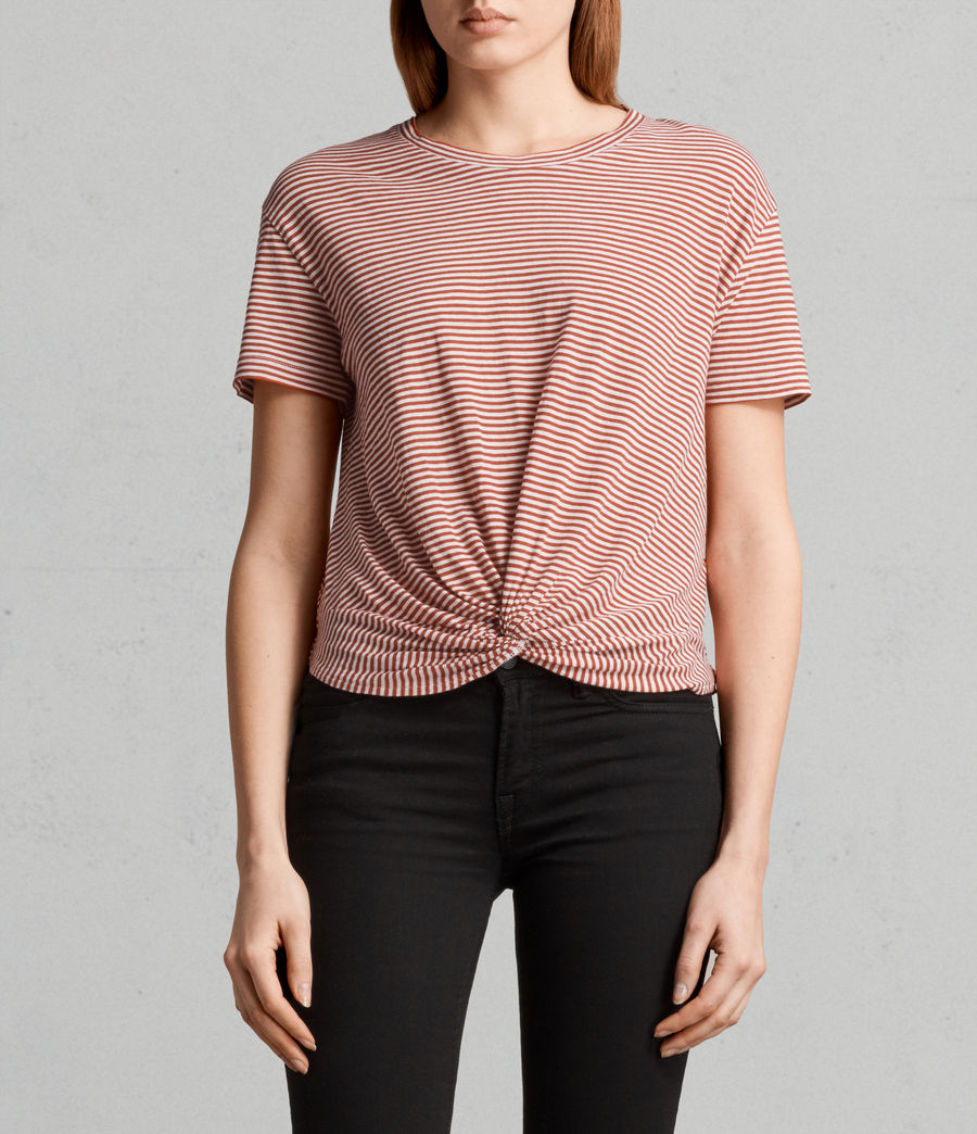 Womens Carme Stripe Tee (poppy_red_oyster) - Image 1