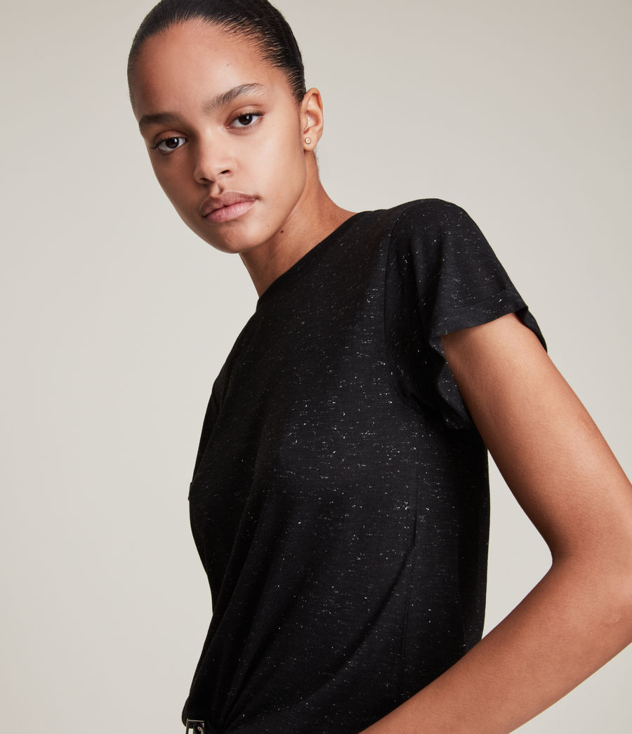 Womens Anna Shimmer T-Shirt (black) - Image 2