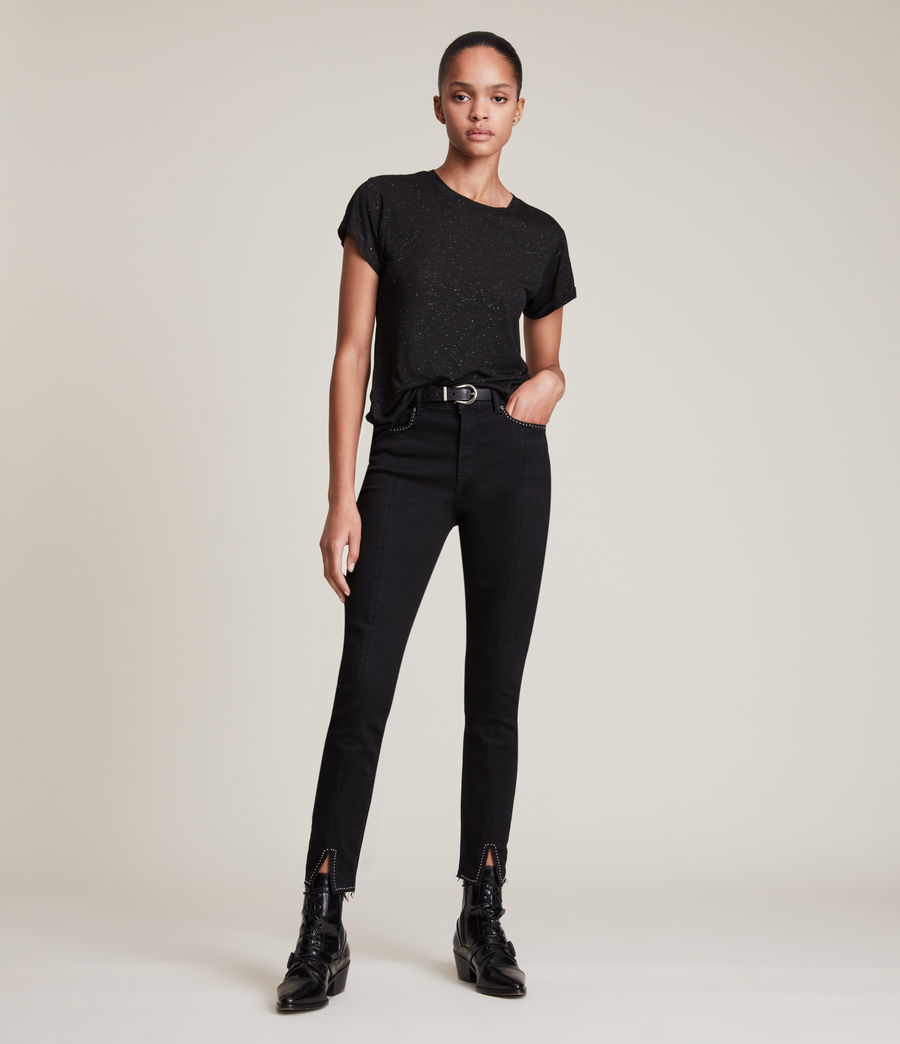 Womens Anna Shimmer T-Shirt (black) - Image 3