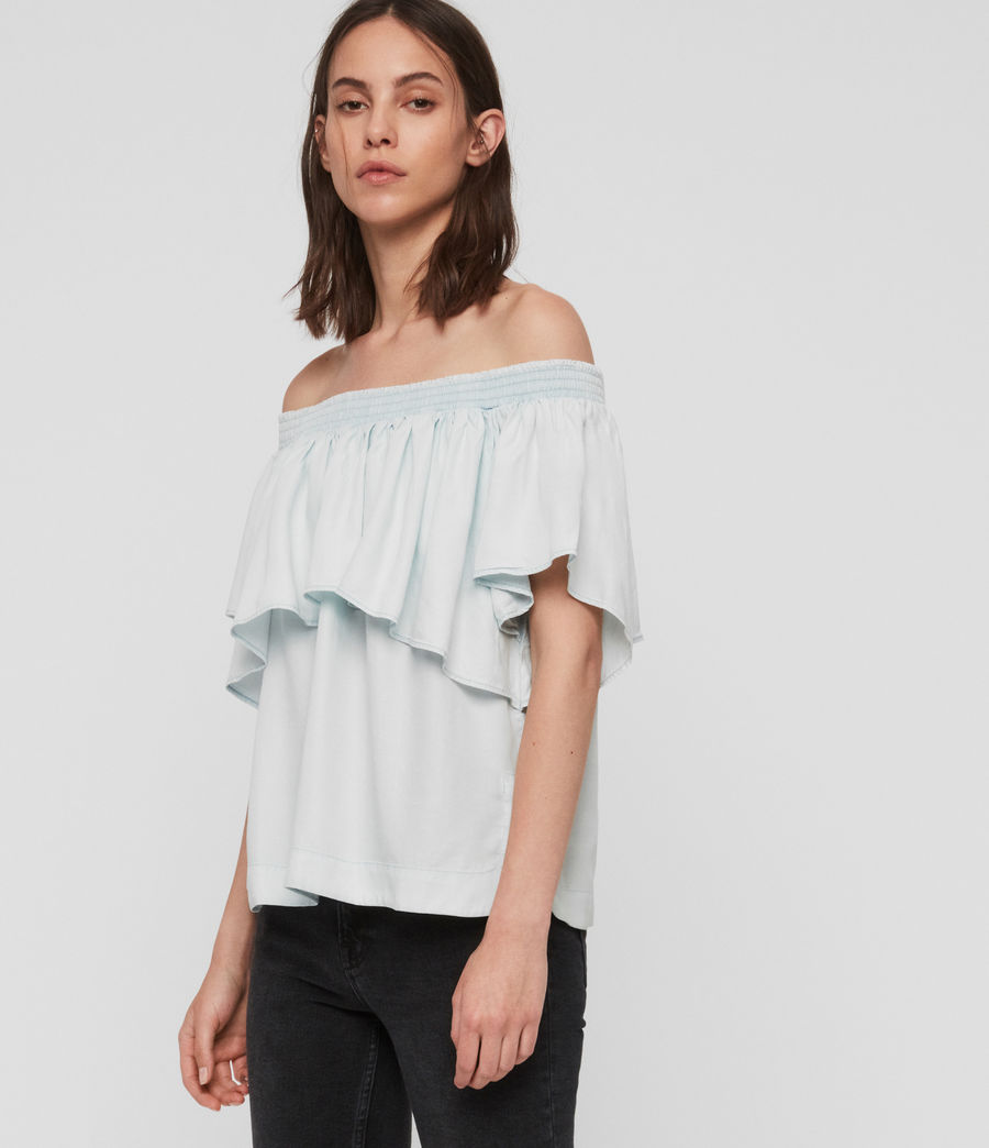 Women's Sacha Tencel Top (bleach_indigo_blue) - Image 3