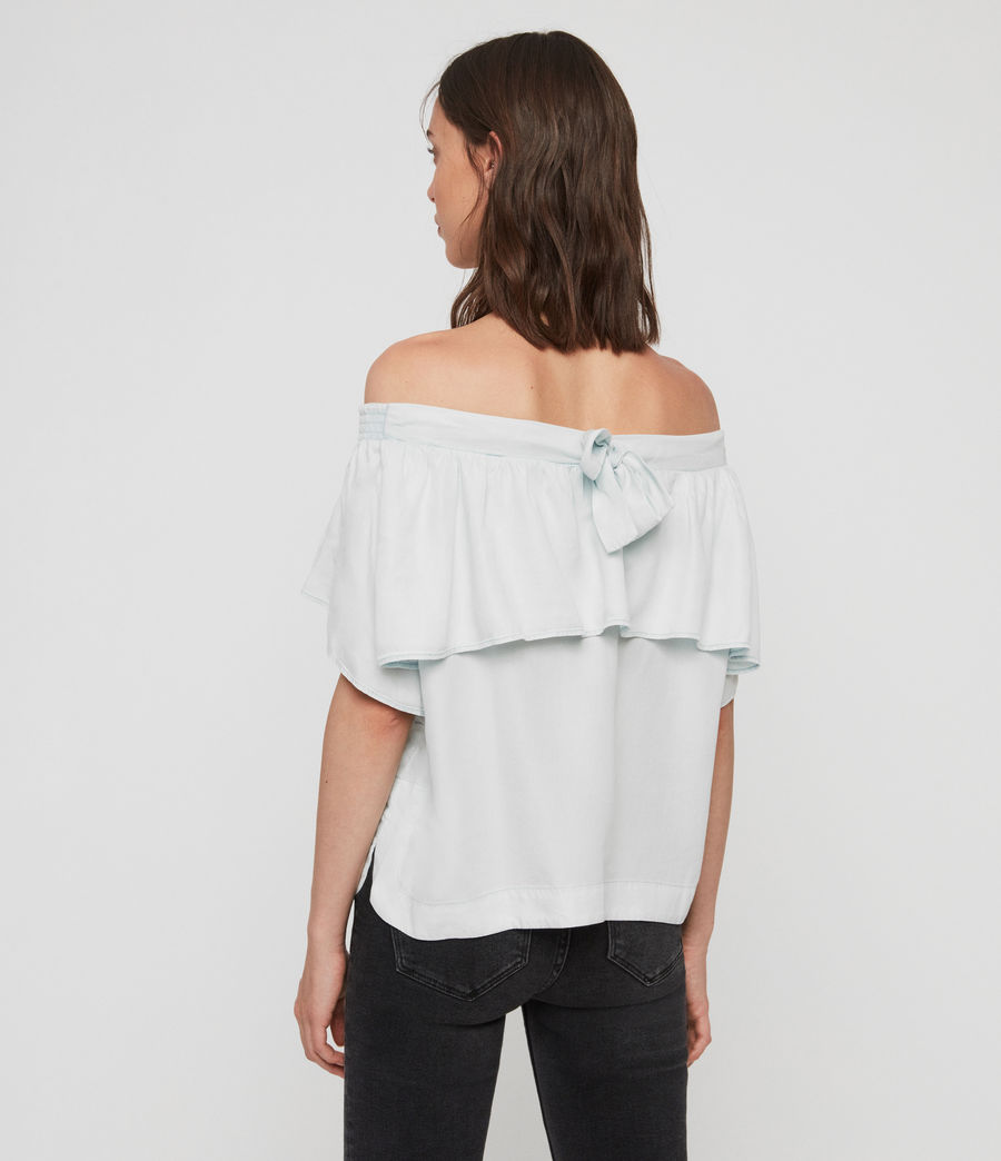 Women's Sacha Tencel Top (bleach_indigo_blue) - Image 4