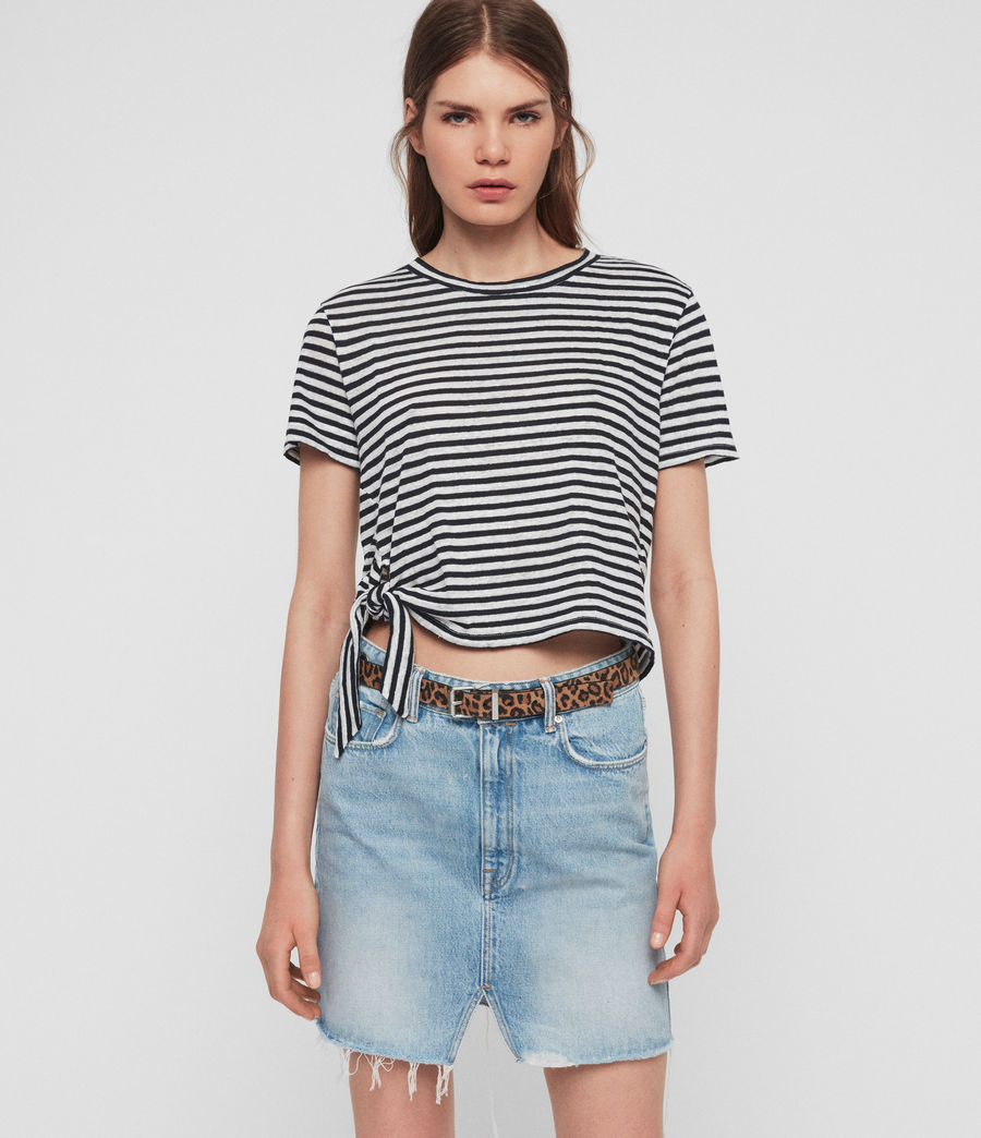 Women's Tujen Stripe T-Shirt (chalk_ink_blue) - Image 1