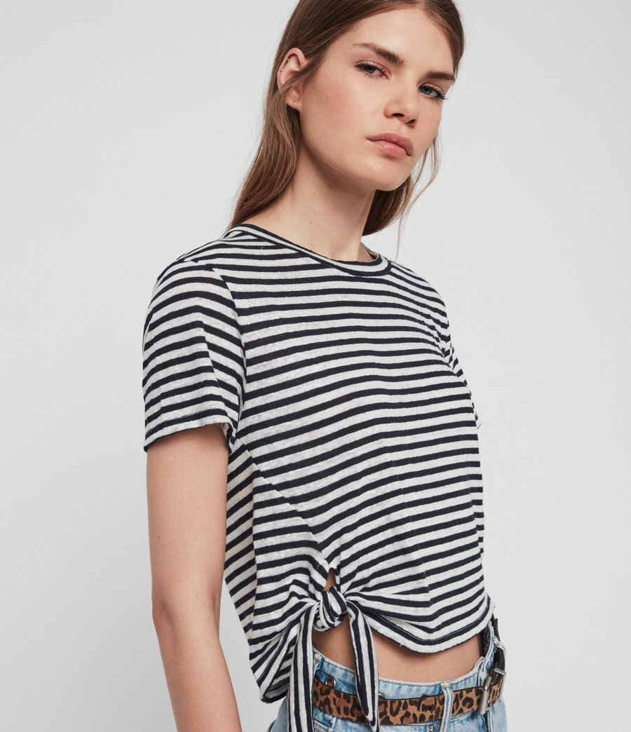 Women's Tujen Stripe T-Shirt (chalk_ink_blue) - Image 3