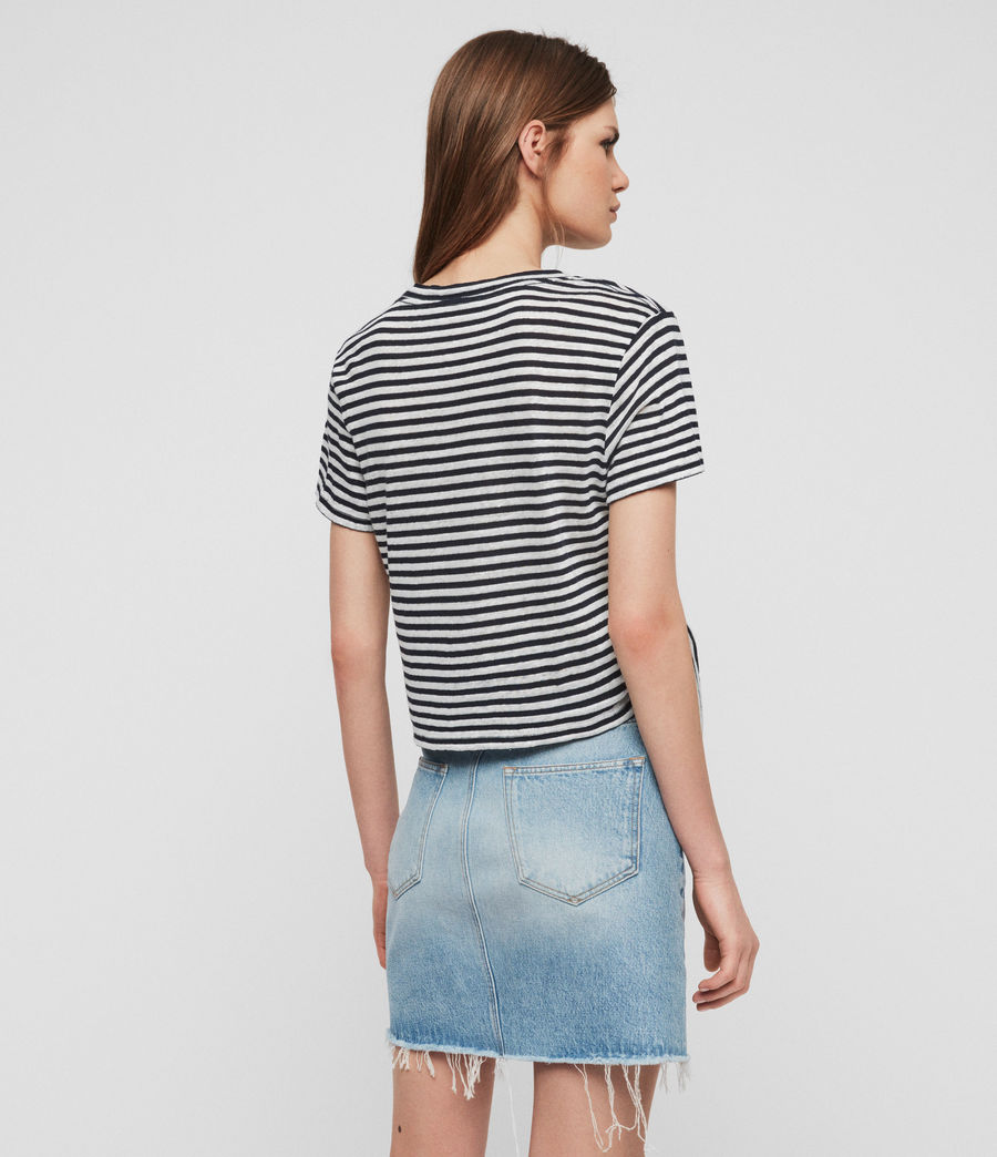 Womens Tujen Stripe T-Shirt (chalk_ink_blue) - Image 4