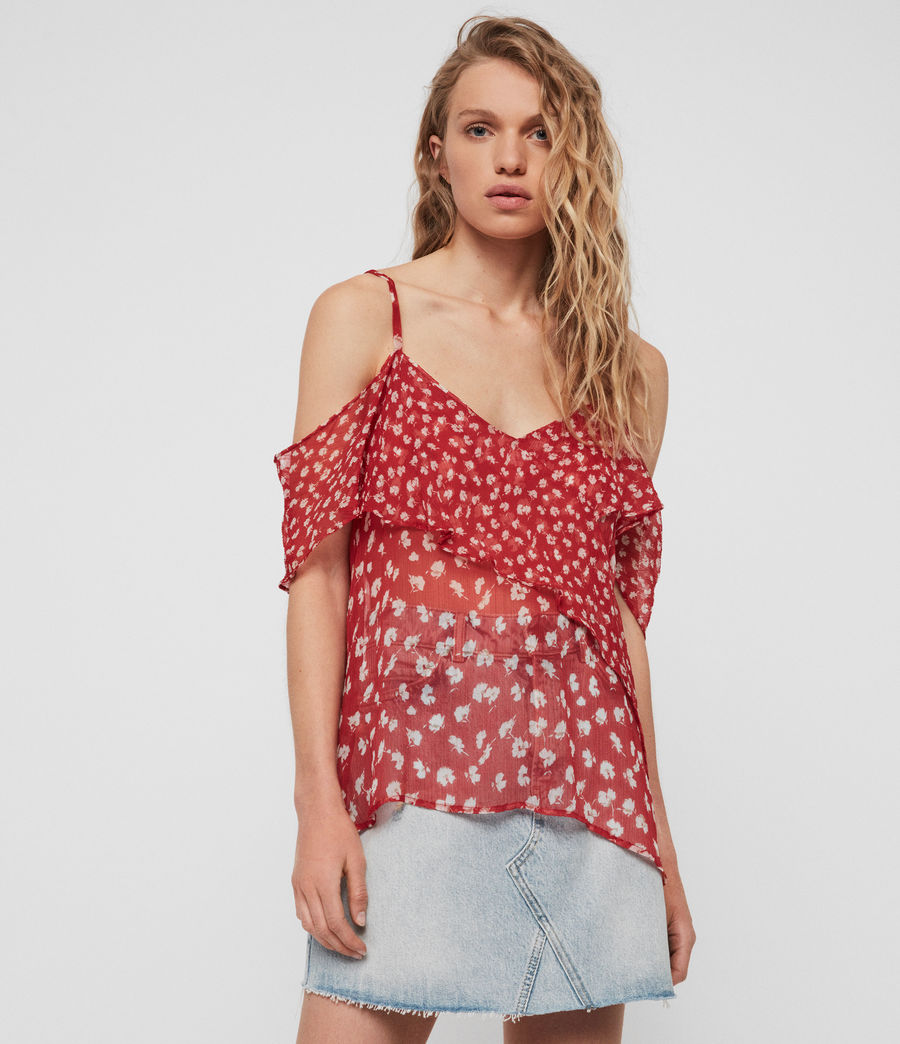 Womens Savine Scatter Top (red) - Image 1
