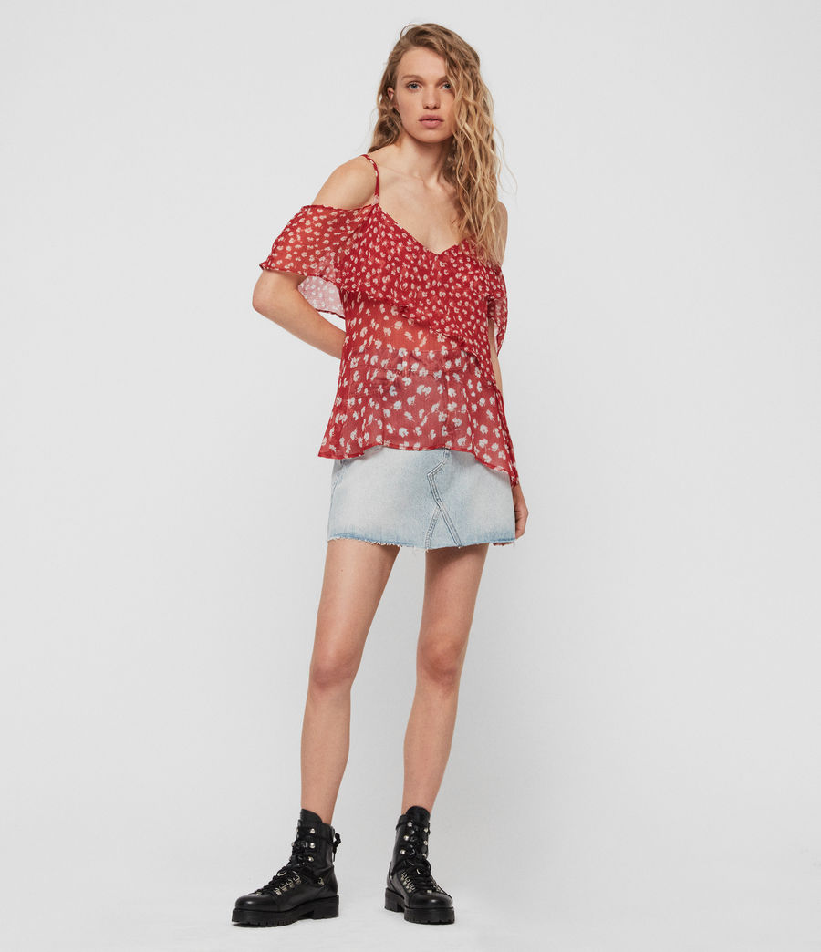 Womens Savine Scatter Top (red) - Image 2