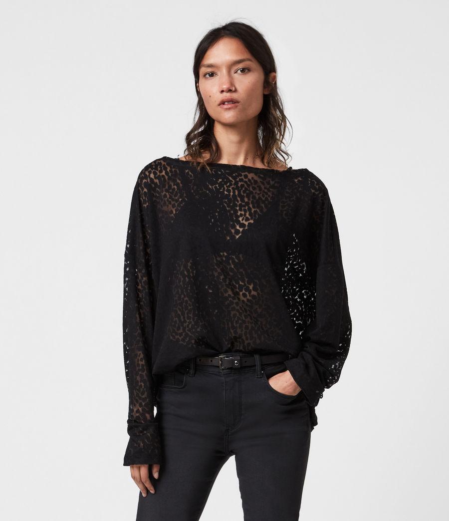 Womens Rita Leopard T-Shirt (black) - Image 1