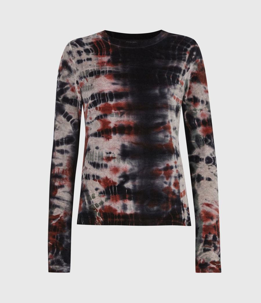 Womens Velvet Tie Dye T-Shirt (ink_blue_multi) - Image 2