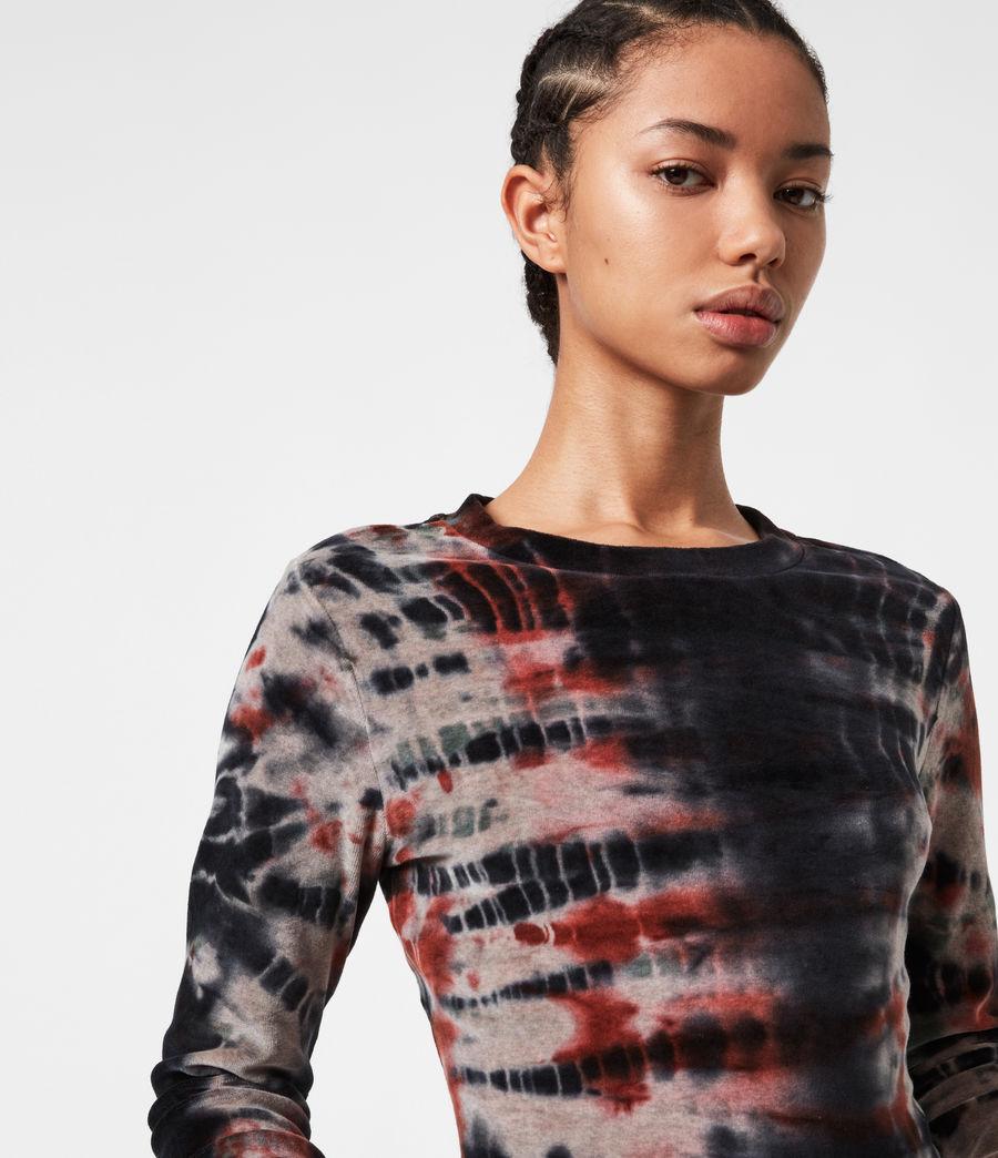 Womens Velvet Tie Dye T-Shirt (ink_blue_multi) - Image 4